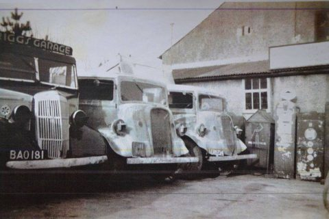 Old buses outside the garage